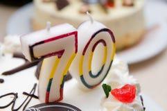 70 Jahre alte Kerzen Lizenzfreie Stockbilder
