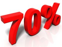 70 percent. 3D rendered image on a white reflective background Stock Images