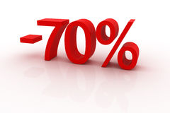 70 percent discount. Red sign showing a 70 percent discount Stock Image