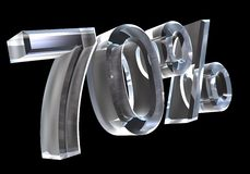70 percent in glass (3D). 70 percent in glass (3D made Royalty Free Stock Photography