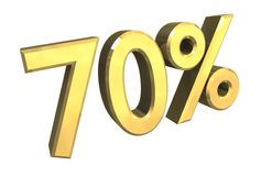 70 percent in gold (3D). 70 percent in gold (3D made Royalty Free Stock Photo