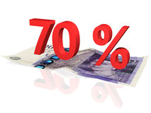 70 % percentage. 3d rendered 70 % percentage on a twenty pounds banknote Royalty Free Stock Image