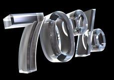 70 por cento no vidro (3D) Fotografia de Stock Royalty Free