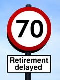 70 retirement delayed roadsign Stock Images