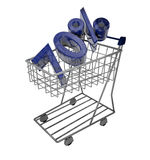 70% shopping cart. 3d render of shopping cart with a big blue shiny sign 70 royalty free illustration