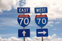 70 sinais de estrada de um estado a outro Fotografia de Stock