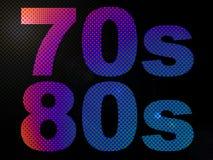 70-tal80-tal förde det psychedelic tecknet för ljust neon Arkivbild