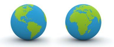 7000 hemisferios del px dos de un globo stock de ilustración