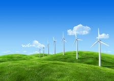 7000px naturaleza - estación de la energía eólica Imagen de archivo