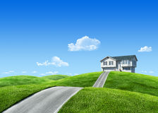 7000px nature - House on green meadow Royalty Free Stock Image