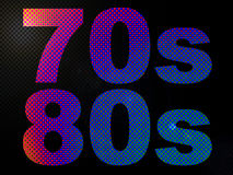70s and 80s LED Neon Psychedelic Light Sign. In Pink, Purple and Blue stock illustration