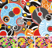 70s circles. Beautiful illustrated 70s pattern with 3 more color options Stock Photos