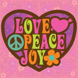 70s illustration joy love peace Στοκ εικόνα με δικαίωμα ελεύθερης χρήσης