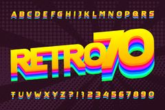 Free 70s Retro Typeface. Uppercase Colorful Letters And Numbers. Halftone Background. Royalty Free Stock Image - 137729616