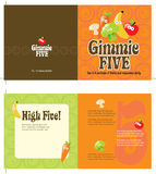 70s style 5x10 brochure template. 5x10 brochure template w/ 70s style background (folds to 5x5, includes crop marks, bleeds, and fold marks Stock Photo