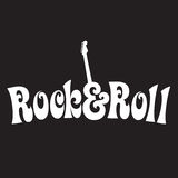 70s style Rock & Roll Design. Black and white 70s style Rock & Roll Design Vector Illustration