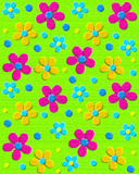 70s Upholstery in Green. Background image is neon green upholstery-like fabric.  70s style daisies in aqua, pink and yellow decorate surface Stock Photo