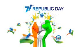 Free 71 Years India Republic Day With Hand Fist In National Flag Color Theme. People Cheering And Celebrating With Holding Flag. Abstra Royalty Free Stock Photos - 169511518