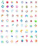 72 colorful vector icons: (set 1). 72 different colorful vector icons: (set 1 Stock Photo