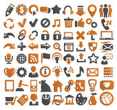72 web icons. Vector color 72 web icons set on gray Stock Photo