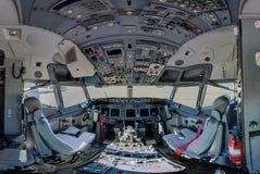 737 congressional team travel aircraft cockpit. 737 operational support and team travel aircraft cockpit wide angle Stock Photos