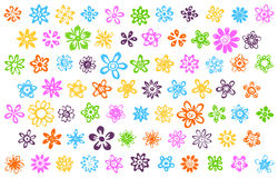 74 sketchy flowers. Vector hand drawn flowers icons Stock Images