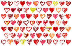 74 sketchy hearts. Vector hand drawn hearts icons Royalty Free Stock Photos