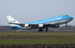 747 boeing klm-start Royaltyfria Foton
