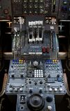 747 Controls. The complex throttle controls in a 747 jumbo-jet cockpit royalty free stock photography