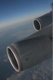 747 Engines. 747 Plane Engines, comming into land in london Stock Photography