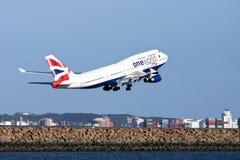 747 flygbolag boeing british av en tagande värld Arkivbild