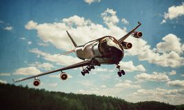 747 landing. In old photo Stock Photo