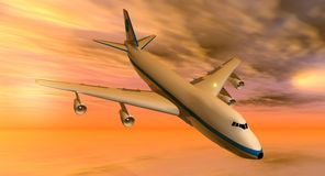 747 plane at sunset. 747 flying in an yellow and orange sky at sunset Royalty Free Stock Photo