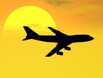 747 Sunset. Illustration of a 747 jet against a sunset sky of yellow and orange Royalty Free Stock Photos