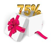 75% discount concept. Shiny golden 75% in the gift box Royalty Free Stock Photography