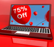 75% Off Balloons On Computer Showing Discount Stock Images