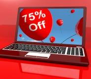 75% outre des ballons sur l'ordinateur affichant l'escompte Images stock
