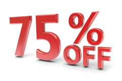 75 percent discount. 75 percent sale discount. 3d image Stock Photo