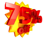 75 percent price off discount. Sign for 75 per cent off in red ciphers at a yellow star on a white background stock illustration