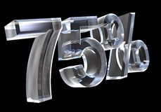 75 percenten in (3D) glas Royalty-vrije Stock Afbeeldingen