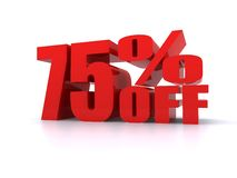 75% Prozent weg vom fördernden Zeichen Lizenzfreie Stockfotos