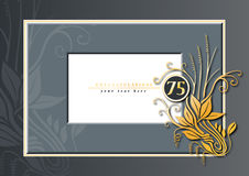 75th anniversary. Editable illustration of a grey and golden congratulations card for 75th anniversary, jubilee, wedding or birthday royalty free illustration