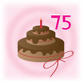 75th birthday. Cake for 75th birthday greeting card Stock Photography
