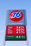 76 conoco可燃气体菲利普定价符号岗位 免版税库存照片