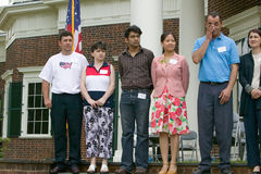 76 new American citizens. At Independence Day Naturalization Ceremony on July 4, 2005 at Thomas Jefferson's home, Monticello, Charlottesville, Virginia, on the Royalty Free Stock Photo