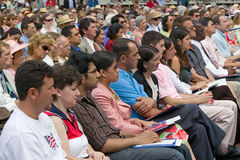 76 new American citizens. At Independence Day Naturalization Ceremony on July 4, 2005 at Thomas Jefferson's home, Monticello, Charlottesville, Virginia, on the Stock Photo