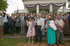76 new American citizens. Taking oath of citizenship at Independence Day Naturalization Ceremony on July 4, 2005 at Thomas Jefferson's home, Monticello Stock Images