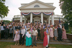 76 new American citizens. Taking oath of citizenship at Independence Day Naturalization Ceremony on July 4, 2005 at Thomas Jefferson's home, Monticello Royalty Free Stock Photo