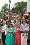 76 new American citizens. Taking oath of citizenship at Independence Day Naturalization Ceremony on July 4, 2005 at Thomas Jefferson's home, Monticello Royalty Free Stock Images