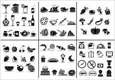 77 Nahrungsmittel- und Getränkikonen eingestellt Lizenzfreie Stockbilder